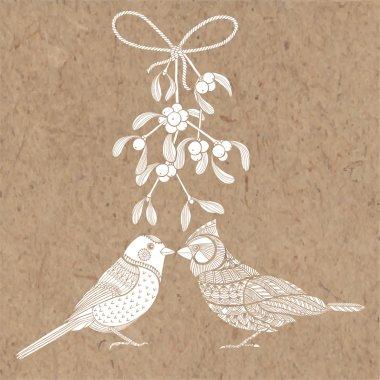 Birds and mistletoe. Christmas card