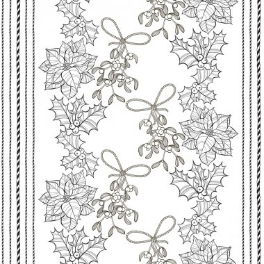pattern with  poinsettia flowers,mistletoe and holly