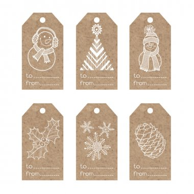 kraft paper tags with  christmas motifs