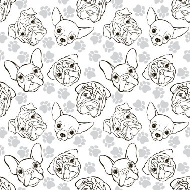 seamless pattern with faces dogs and traces