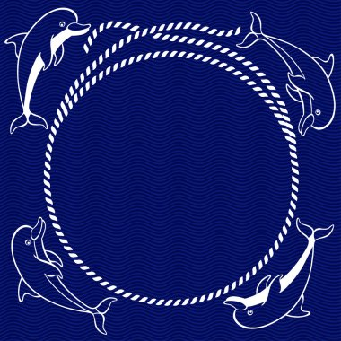 Nautical card with round frame and dolphins