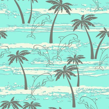 Seamless pattern with dolphins and palm trees