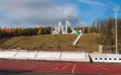 Odrazový můstek komplexu na hoře dlouho v Nižním Tagilu. Rusko