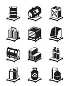 Photo Metal containers icon set