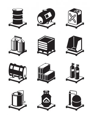 Metal containers icon set