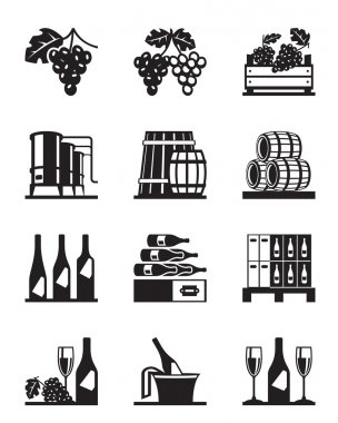 Grapes and wine icon set - vector illustration stock vector