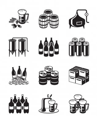 Beer and brewery icon set