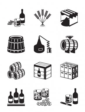 Production of whiskey and brandy - vector illustration stock vector