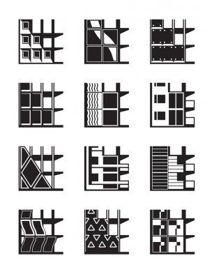 Different types of facades of buildings