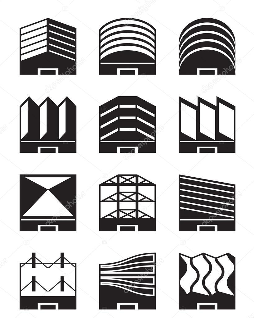 Varios tipos de cubiertas industriales vector de stock - Tipos de cubiertas inclinadas ...