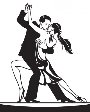 Pair of dancers in ballroom dance