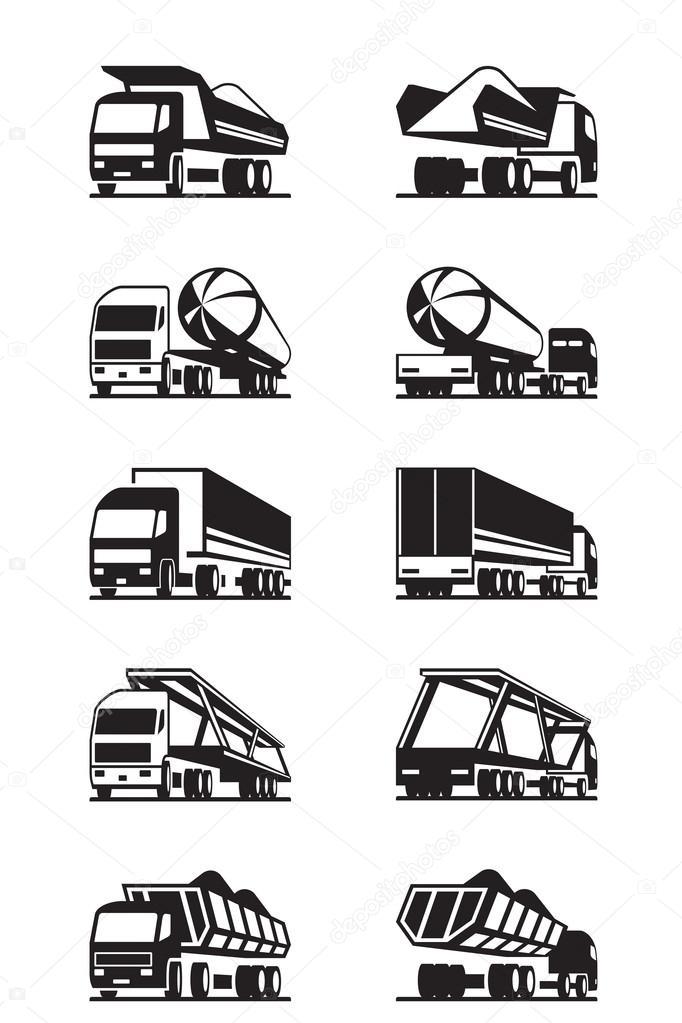 verschiedene arten von lastwagen mit anh nger stockvektor angelha 77680832. Black Bedroom Furniture Sets. Home Design Ideas