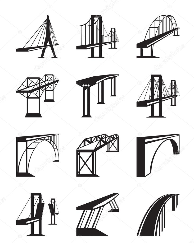 Various types of bridges in perspective
