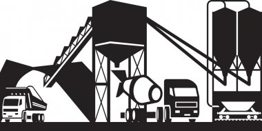 Concrete plant with trucks