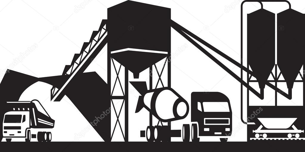 Concrete plant with trucks