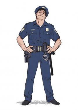 Smug policeman stands upright. Blue uniform