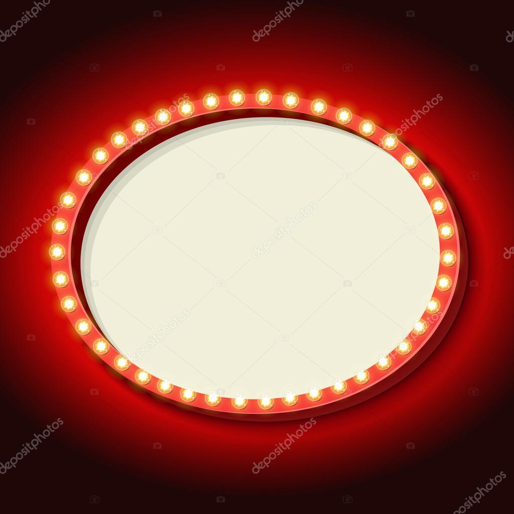 Círculo de retro marco con luces de neón — Archivo Imágenes ...