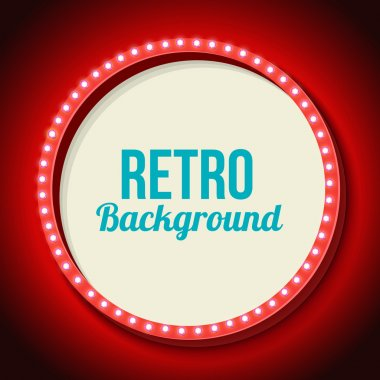 Red retro frame with lights. Round 3d frame with lights and white background for the text message, share or discount. Red neon light falls on the black wall. Vector illustration stock vector