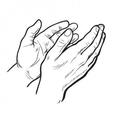 Sketch hand clap her hands, bravo