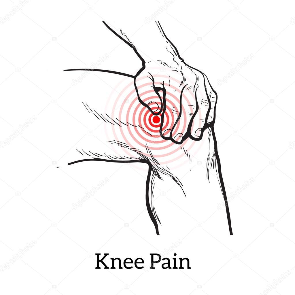Dibujo de dolor de la rodilla. Manos sosteniendo la pierna — Archivo ...