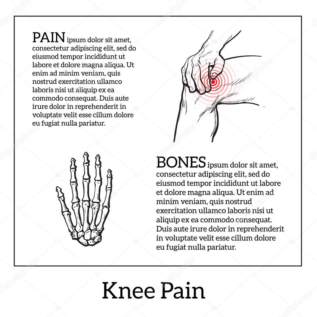 Dibujo de dolor de la rodilla. Manos sosteniendo la pierna — Vector ...
