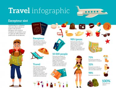 Travel icons, Infographic with elements of holidays