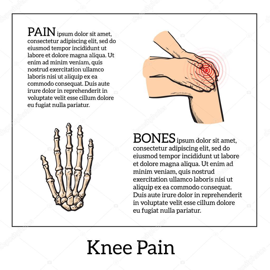 Illustration de couleur d'une douleur au genou. Mains tenant la ...