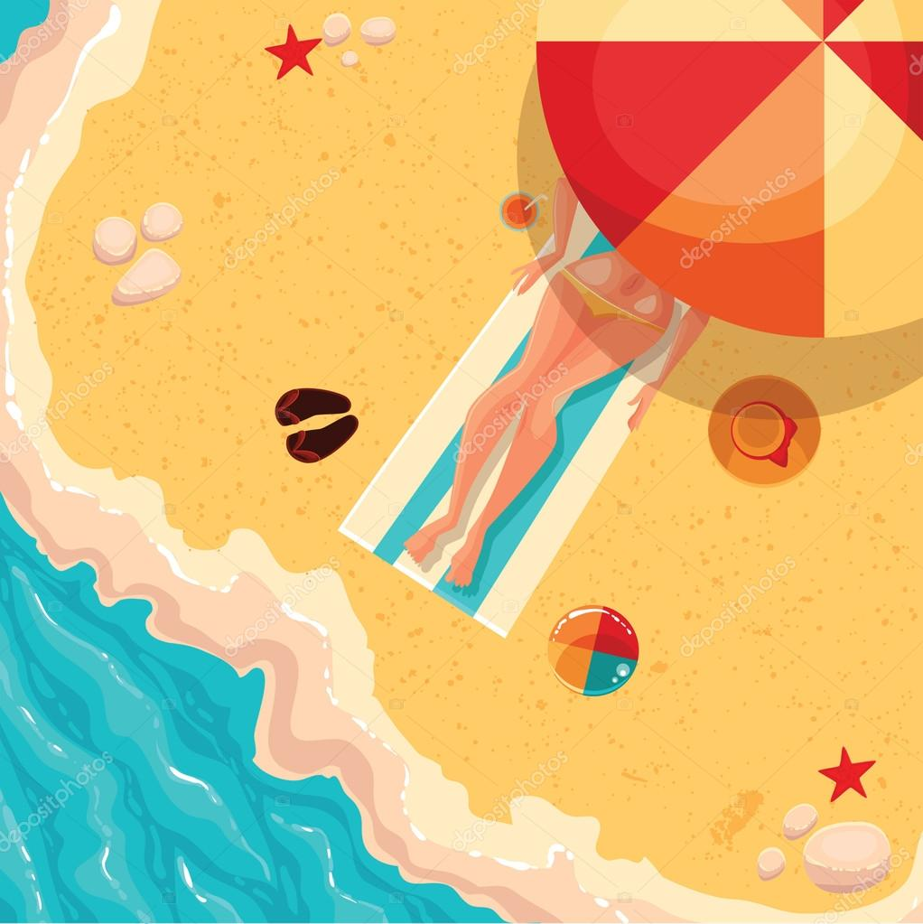 Holiday girl on a sunny sea shore, view from above