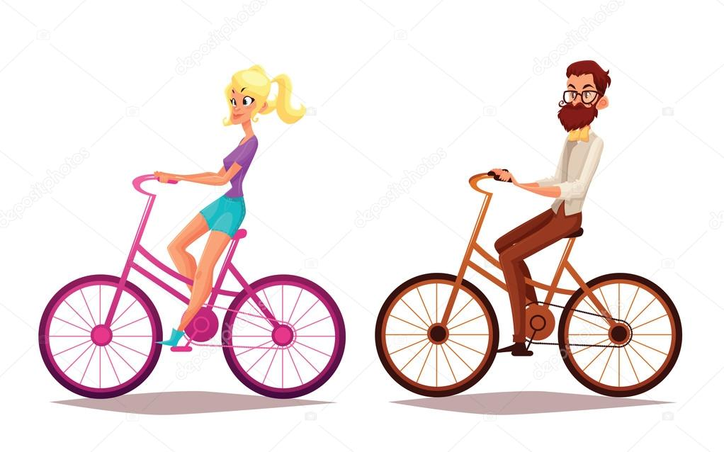 casal dos desenhos animados andar de bicicleta vetor de stock
