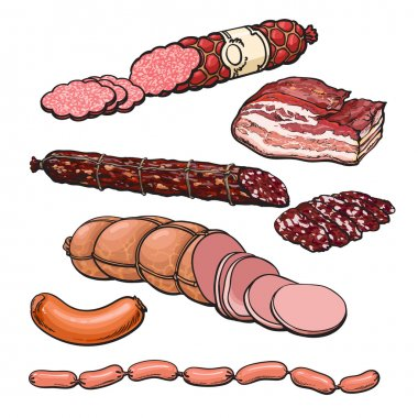 Meat products on a white background