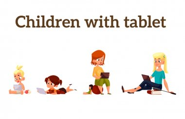 Children play in the smartphone or tablet