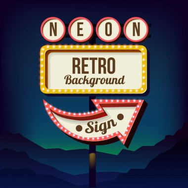 Vintage advertising road billboard with lights. Retro sign.