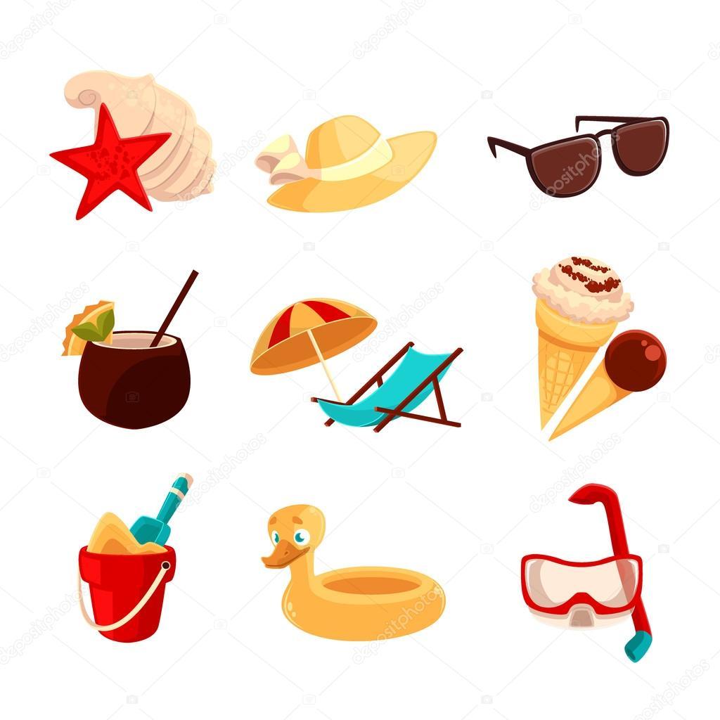 definir objetos de férias de praia vetor de stock sabelskaya