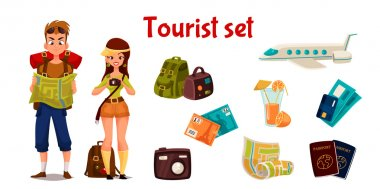 Travel icons, set cartoon elements of holidays