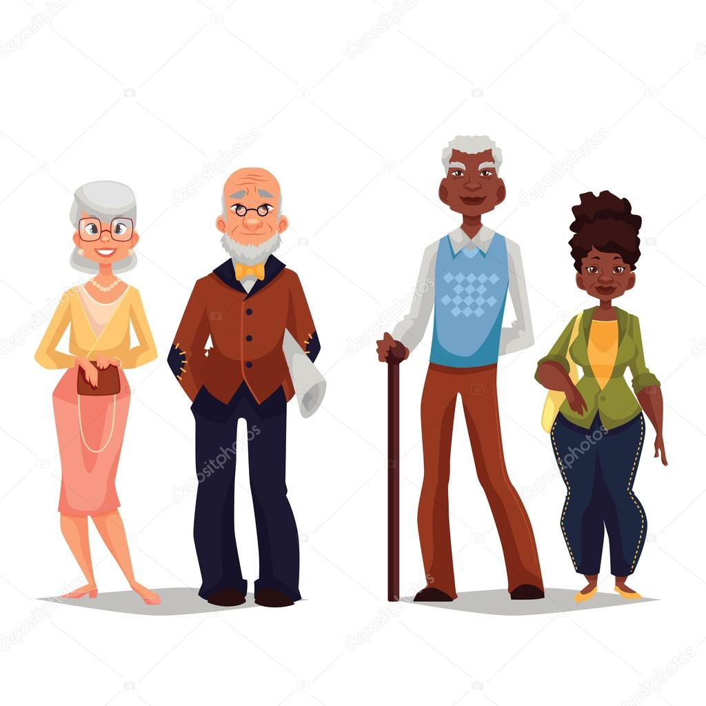 Overage two pairs, Africans and Europeans — Stock Photo © Sabelskaya