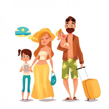 Family on vacation, vector cartoon comic illustration of four people on a white background, traveling and vacationing family with luggage and children, four people, a man with a beard hipster stock vector
