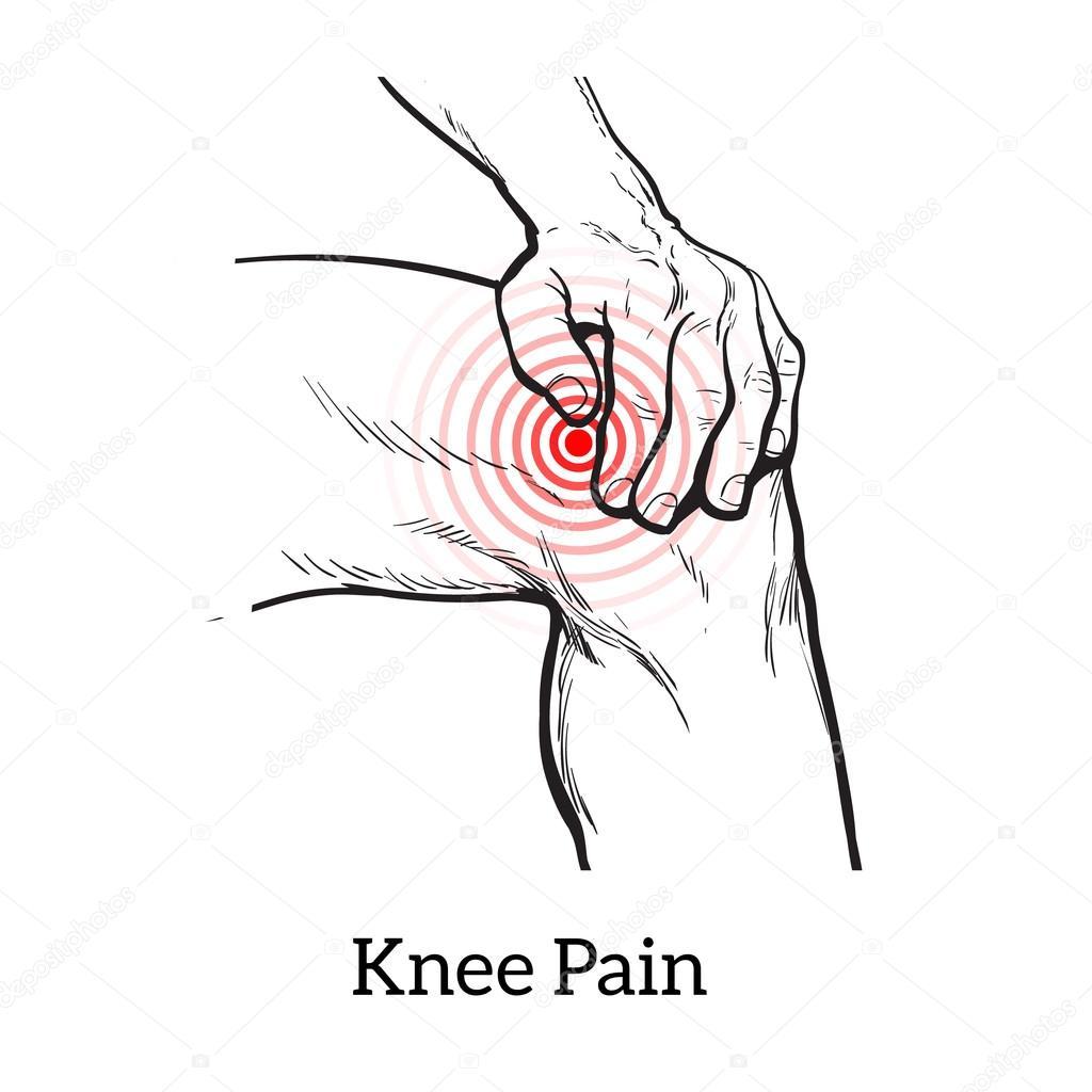 Dibujo de dolor de la rodilla. Manos sosteniendo la pierna — Fotos ...