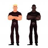 mužské africké a Evropské bezpečnostní stojan