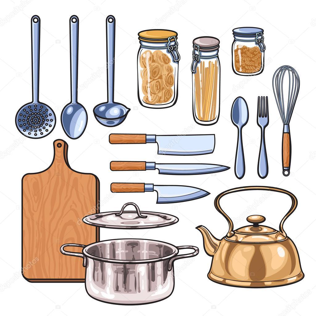 Utensilios de cocina en color sketch estilo archivo for Productos de cocina