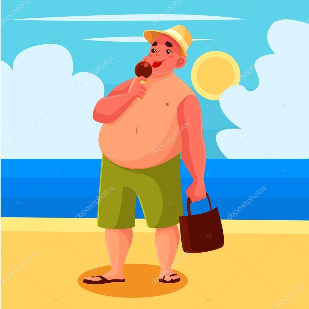 Fat man eating ice cream on the beach