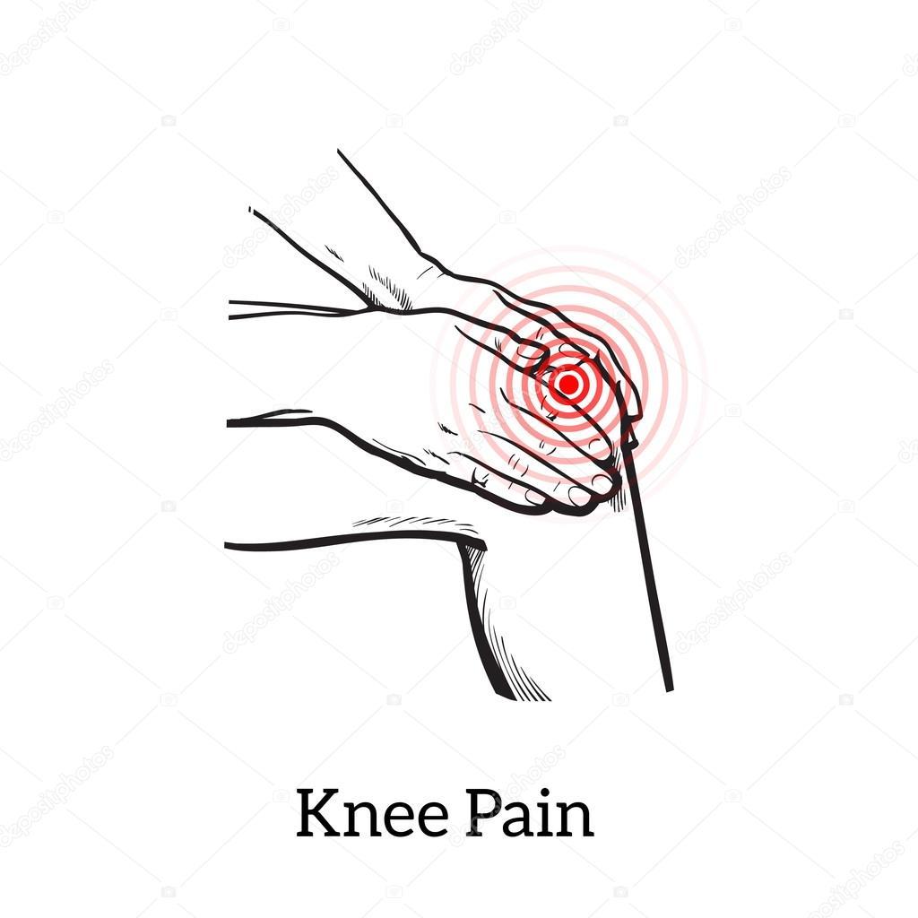 Dibujo de dolor de la rodilla. Manos sosteniendo la pierna — Foto de ...