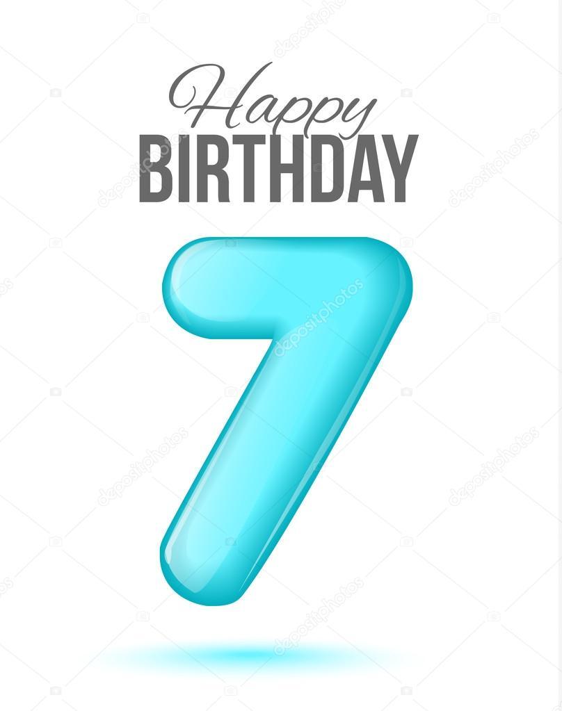 7th Seventh Happy Birthday 7 Birthday Greeting Card