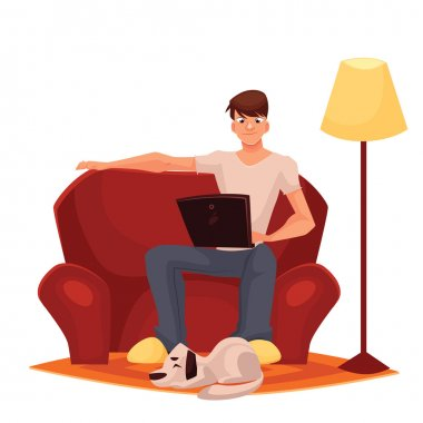 man working at home on the couch