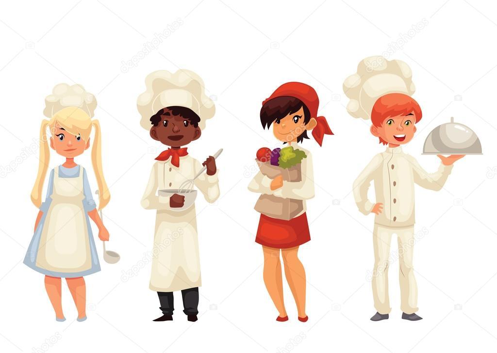 Isolerade tecknad barn kockar i hattar och uniform stock - Ayudante de cocina sueldo ...