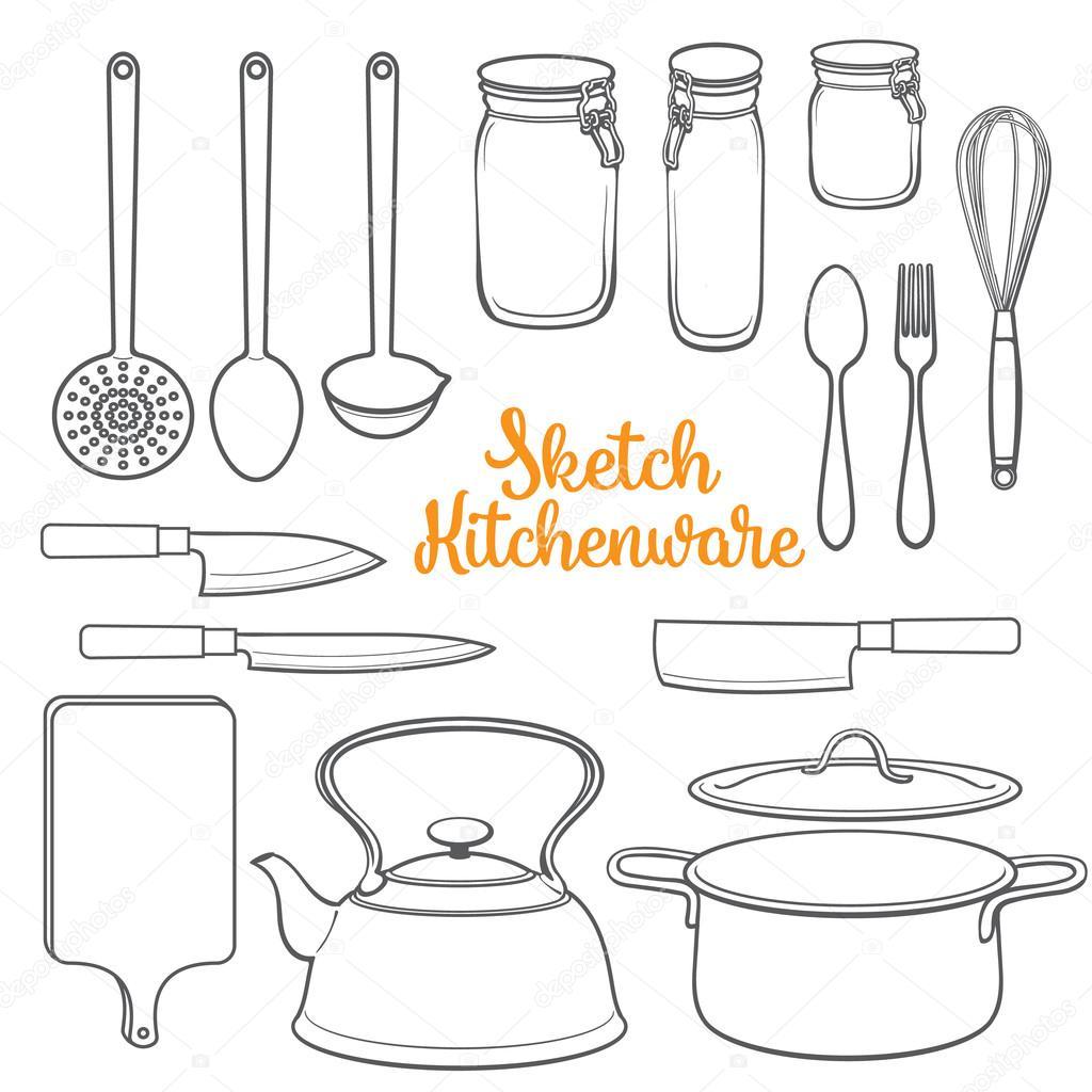 Conjunto De Utens Lios De Cozinha Isolado E Ilustra O Em Vetor  ~ Desenho Utensílios De Cozinha