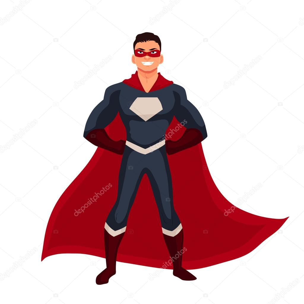 Superhero man in cape and usual clothes — Stock Vector