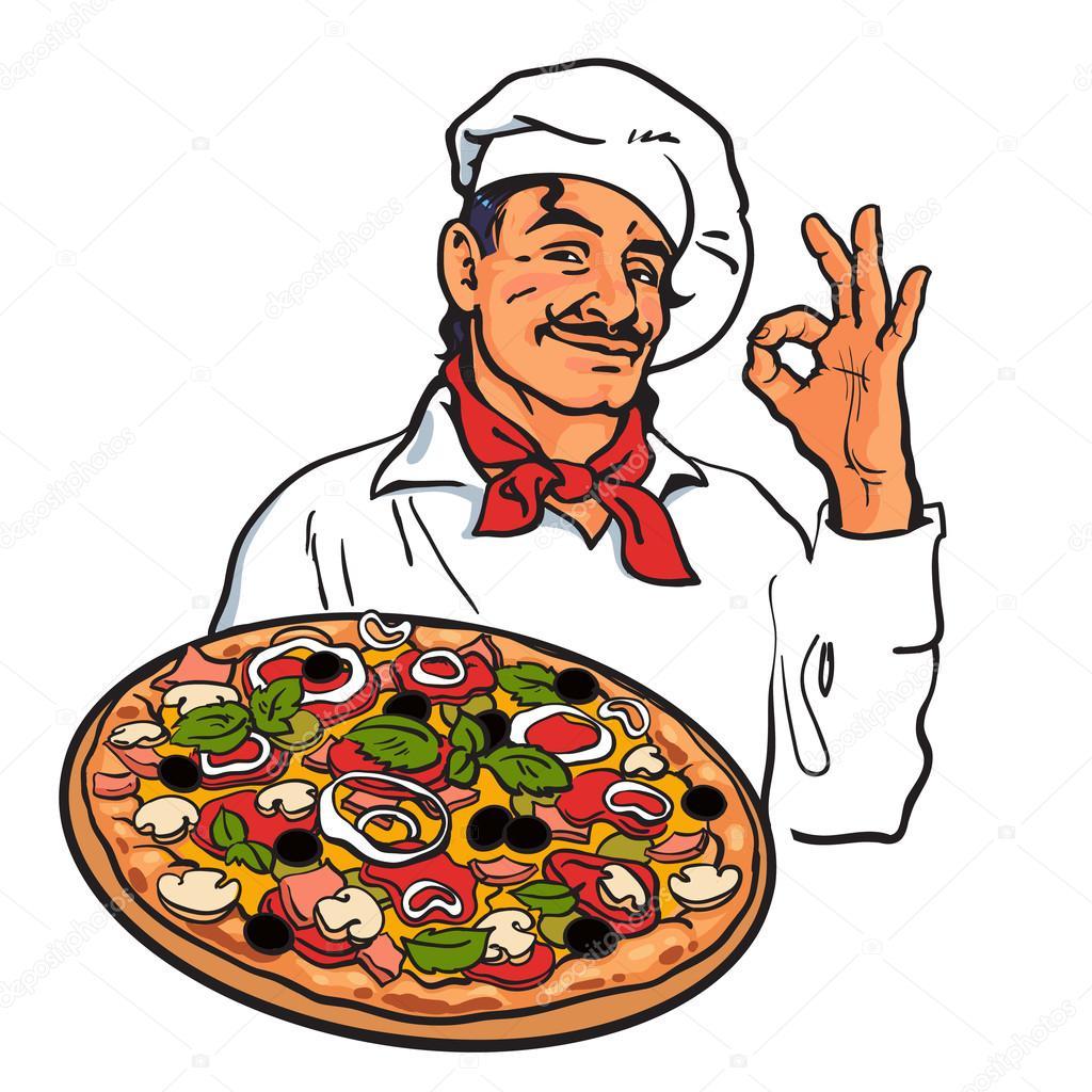 Skizze des l chelnden italienischer koch pizza in der for Koch italienisch