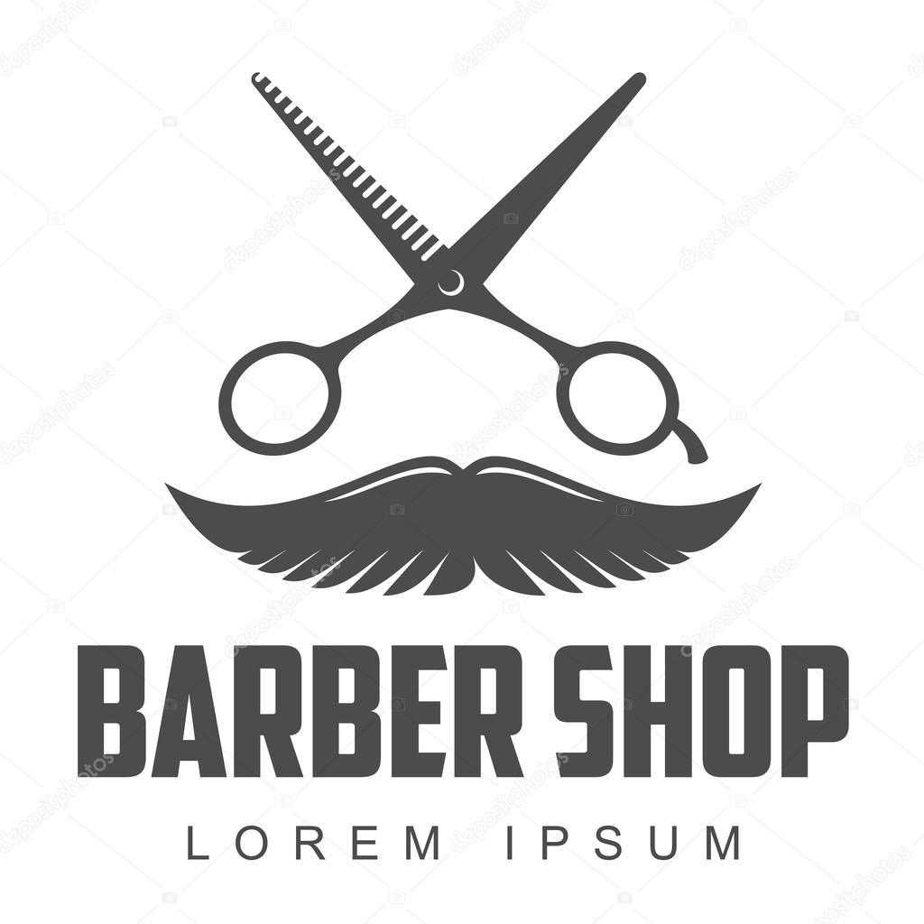 Vintage barbeiro loja logotipo, etiqueta, distintivo e design elemento,  ilustração vetorial, isolado no fundo branco. Logotipo de pentes, bigode e  tesouras ...