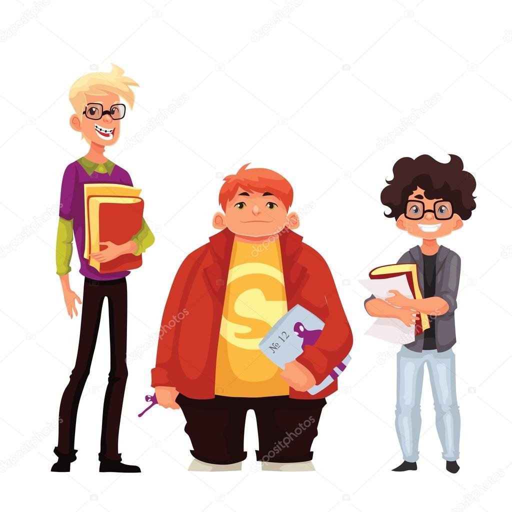 ba0912af31 Ilustración de dibujos animados estilo nerd colegiales aislados sobre fondo  blanco. Grupo de nerd chicos adolescentes escolares con libro y gafas ...