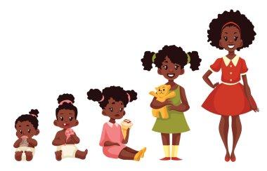 Set of black girls from newborn to infant toddler schoolboy